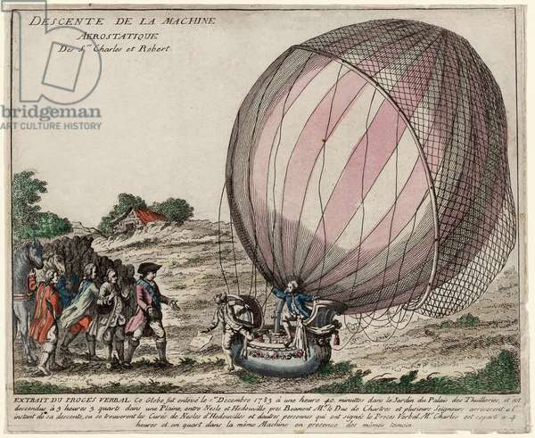 Descente de la Machine Aerostatique des Srs. Charles et Robert, pub. 1783 (hand-coloured engraving)