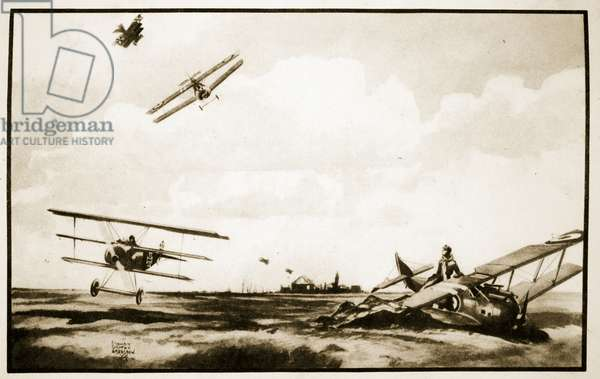 The Death of Richthofen, illustration from 'Flying Memories' by John Hamilton, 1934 (litho)