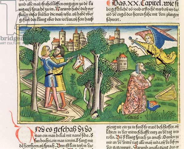 2 Samuel 20 10 Joab slays Amasa, from the 'Nuremberg Bible (Biblia Sacra Germanaica)' (coloured woodcut)