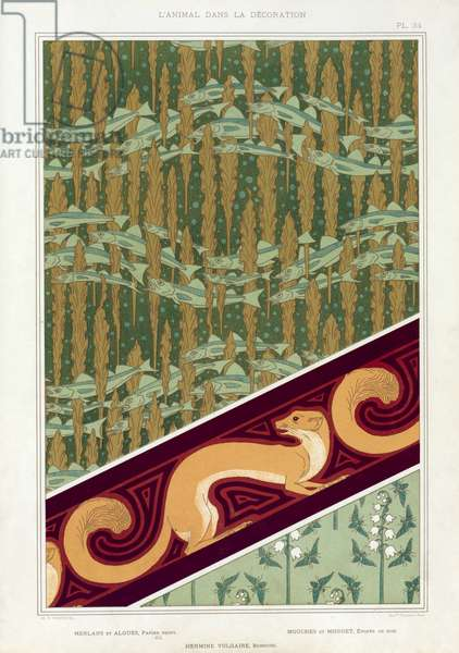 """Designs for wallpaper,  border and silk fabric: """"Whiting and Seaweed"""", """"Squirrels"""" and Insects with Lily of the Valley"""", from 'L'Animal dans la Decoration' by Maurice Pillard Verneuil; pub. 1897 (colour lithograph)"""