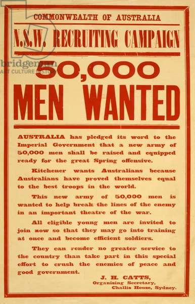 Commonwealth of Australia - 50,000 men wanted, pub. c.1916 (colour litho)