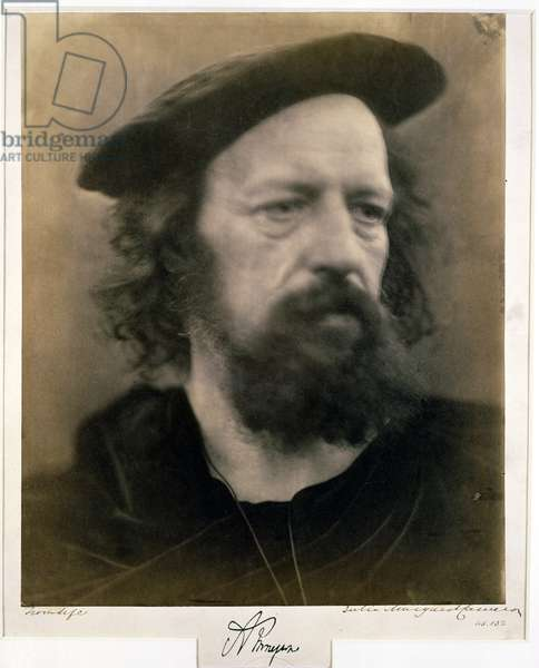 Portrait of Alfred, Lord Tennyson (b/w photo)