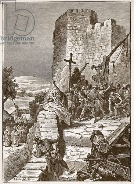 Procession of the Crusaders round the walls of Jerusalem, illustration from 'Cassell's Illustrated History of England' (engraving) (sepia photo)