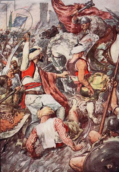 'Because of the Heavy Blows Duke Charles Showered upon the Saracens he was Called Charles the Hammer', illustration from 'The Story of France Told to Boys and Girls' by Mary Macgregor, 1920 (colour litho)