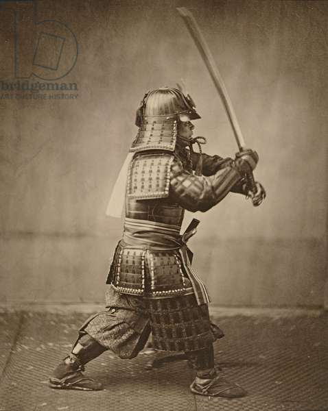 Samurai with raised sword, c.1860 (albumen print)