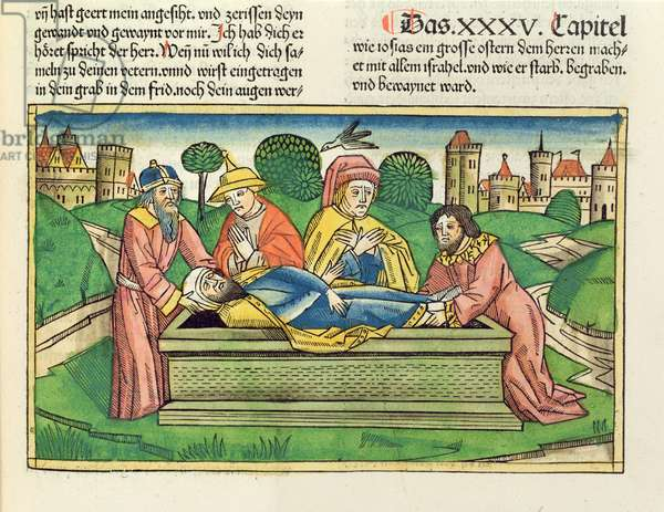 2 Chronicles 35 24 Burial of Josiah, from the 'Nuremberg Bible (Biblia Sacra Germanaica)' (coloured woodcut)