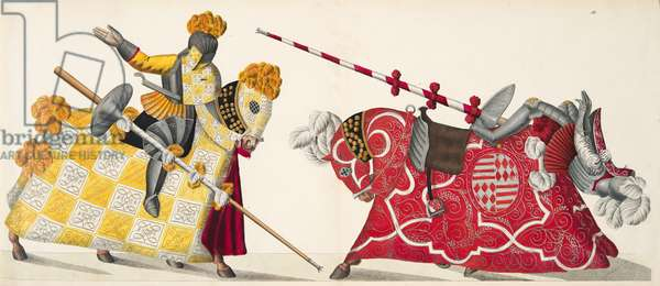 Two knights at a tournament, plate from 'A History of the Development and Customs of Chivalry', by Dr. Franz Kottenkamp, published by Carl Hoffmann, 1842 (colour litho)