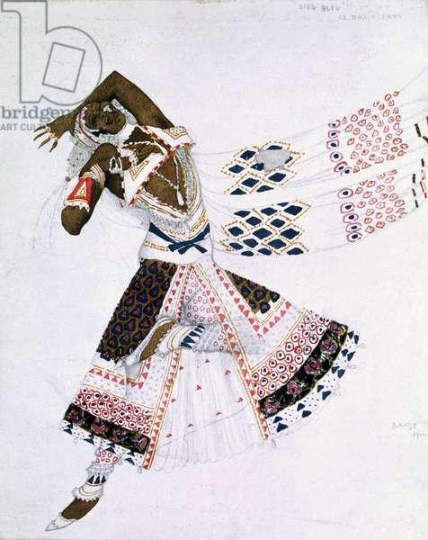 Costume design from Le Dieu Bleu, 1911 (colour litho)