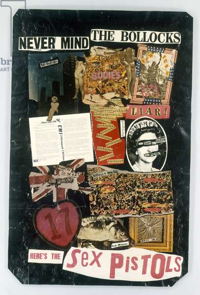 Promotional poster for the Sex Pistols, 'Never Mind The Bollocks / Here's The Sex Pistols', 1977 (collage)