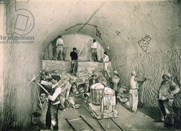 Boring a cellar, from 'Le France Vinicole', pub. by Moet & Chandon, Epernay (photolitho)