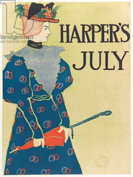 Advertising Poster for Harper's New Monthly Magazine,  July 1896,  pub. 1896     (colour lithograph)