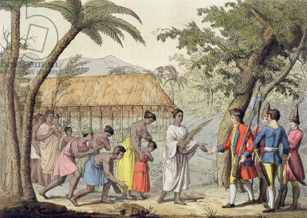 Captain Samuel Wallis (1728-1830) being received by Queen Oberea on the Island of Tahiti (colour litho)