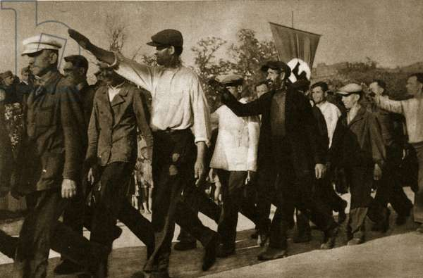 Candidates for the Nazi Ukrainian militia, 1941-3 (b/w photo)