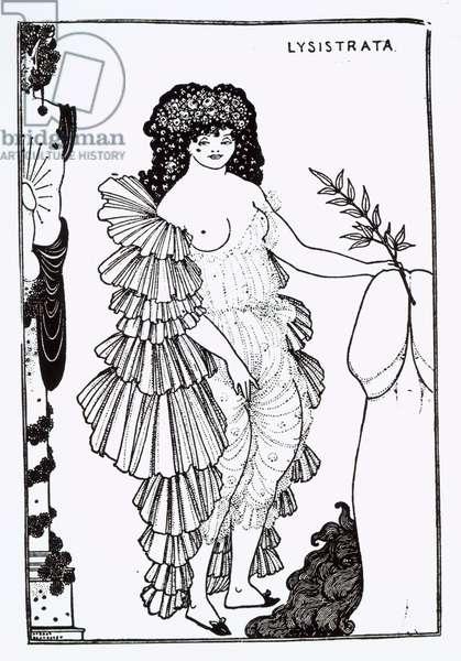 Lysistrata Shielding Her Coynte, illustration for Lysistrata by Aristophanes (c.445-c.385 BC) 1896 (litho) (b/w photo)