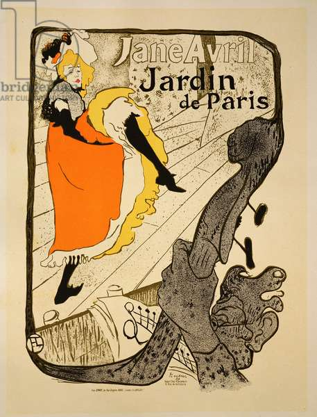 Reproduction of a poster advertising 'Jane Avril' at the Jardin de Paris, 1893 (colour litho) (see 34625)