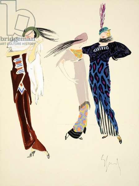 Design for day dress, 1912, plate 7, illustration from 'Robes et Femmes', pub. Dorbon-Ainé, Paris, 1913 (pochoir print)