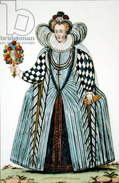 Senior Lady of the French Court in 1591, early 20th century (litho)