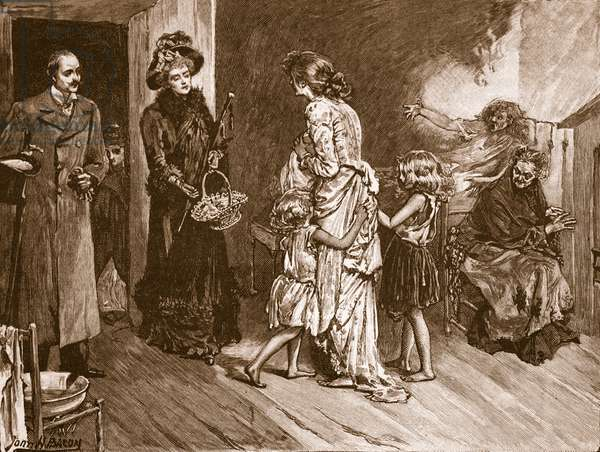 West meets East: well to do visitors to a slum dwelling, illustration from 'Cassell's Illustrated History of England' (engraving) (sepia photo)