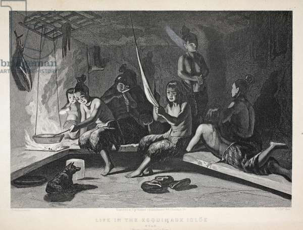 Life in the Esquimaux Igloe, Etah, illustration from 'The Second Grinnell Expedition in Search of Sir John Franklin', 1856 (engraving)