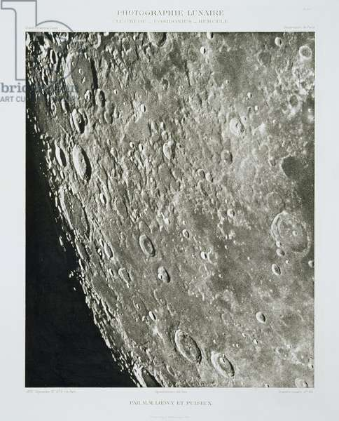 The Surface of the Moon, September 10th 1900, from 'Atlas Photographique de la Lune', by Pierre Puiseux and Maurice Loewy, published 1900 (b/w photo)