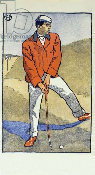 June/July,  detail from 1931 Golfing Calendar, pub. 1931 (colour lithograph)