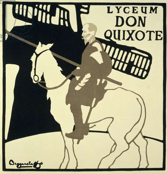 Reproduction of a poster advertising 'Don Quixote', Lyceum Theatre, 1896 (colour litho)