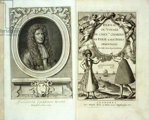 Title page and frontispiece portrait of 'Journal du Voyage de Chevalier Chardin en Perse et aux Indes Orientales' by Jean Chevalier Chardin, 1686 (litho)