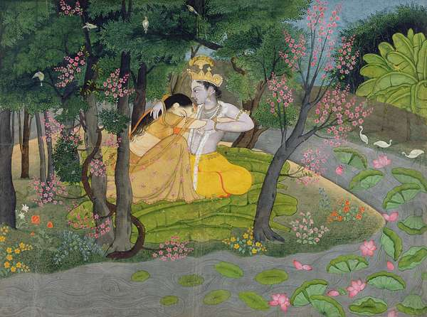 Radha and Krishna embrace in a grove of flowering trees, c.1780 (w/c on paper)