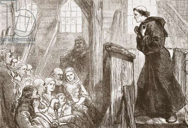Luther preaching in the old wooden church at Wittemberg, illustration from 'The History of Protestantism' by James Aitken Wylie (1808-1890), pub. 1878 (engraving)