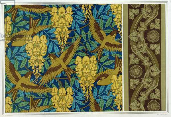Designs for Birds and Wisteria Hanging and wallpaper border with Lizards and Ivy,  from 'L'Animal dans la Decoration' by Maurice Pillard Verneuil,  pub. 1897 (colour lithograph)