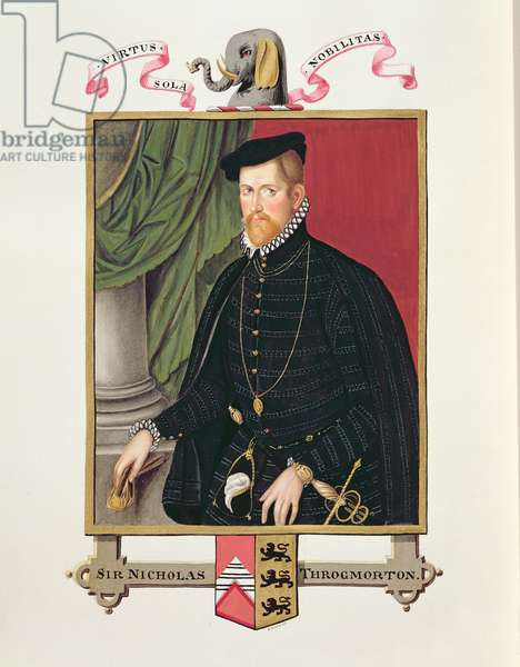 Portrait of Sir Nicholas Throckmorton (1515-71) from 'Memoirs of the Court of Queen Elizabeth', published in 1825 (w/c and gouache on paper)
