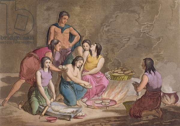 Aztec women making maize bread, Mexico, from 'Le Costume Ancien et Moderne', Volume II, plate 82, by Jules Ferrario, published c.1820s-30s (colour engraving)