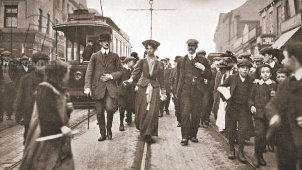 Lady Constance Lytton before she threw a stone at Sir Walter Runciman's car in Newcastle, 9th October 1909 (sepia photo)