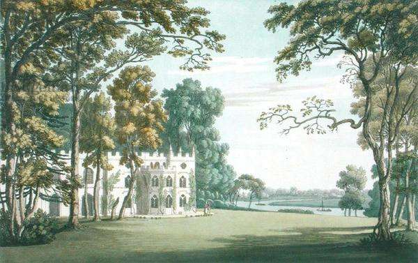 The House, gardens and lake at Strawberry Hill, engraved by J.C. Stadler (fl.1780-1812), published in 1793 (coloured engraving)