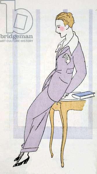 Elegant in a trouser suit in Venice (pochoir print)