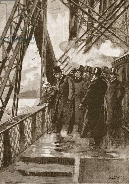 Opening of the Forth Bridge by the Prince of Wales, 4th March, 1890, illustration from 'Cassell's Illustrated History of England' (engraving) (sepia photo)