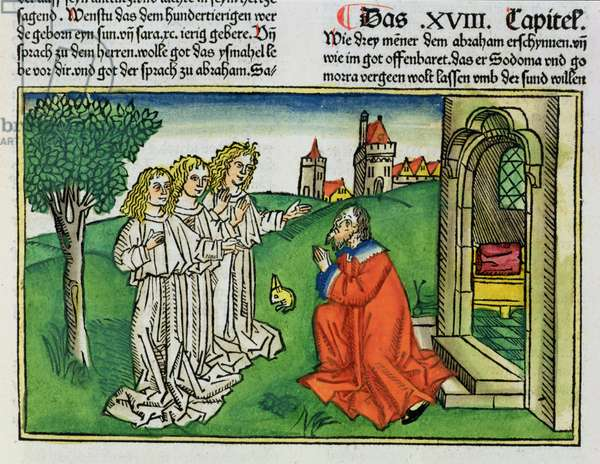 Genesis 18 2 Abraham and the Three Angels, from the 'Nuremberg Bible (Biblia Sacra Germanaica)' (coloured woodcut)