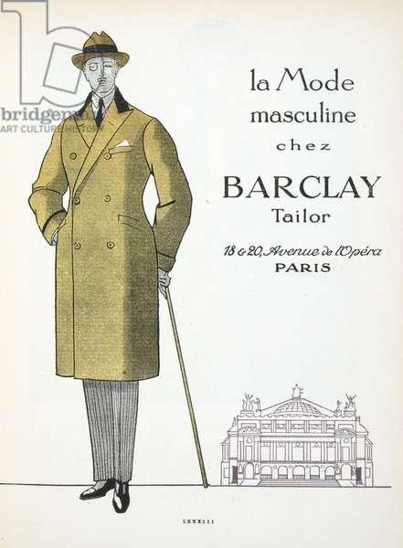 "Advertisement for ""Barclay"" Mens Fashion, from Gazette de Bon Ton, pub.  1920 (pochoir print)"