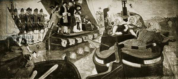 The opening of the Bridgewater Canal, 1768, illustration from 'Hutchinson's Story of the British Nation', c.1923 (litho)