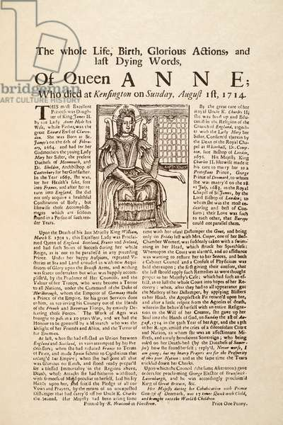 Broadside published on the death of Queen Anne, on Sunday 1st August 1714 (print & woodcut)