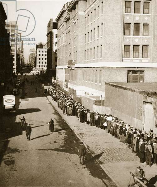 The Breadline, a visible sign of poverty during the Great Depression (sepia photo)