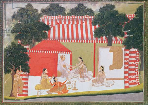 A prince trying to pull a lady into his tent; a maid and friends look on in surprise, c.1760 (opaque w/c on paper)
