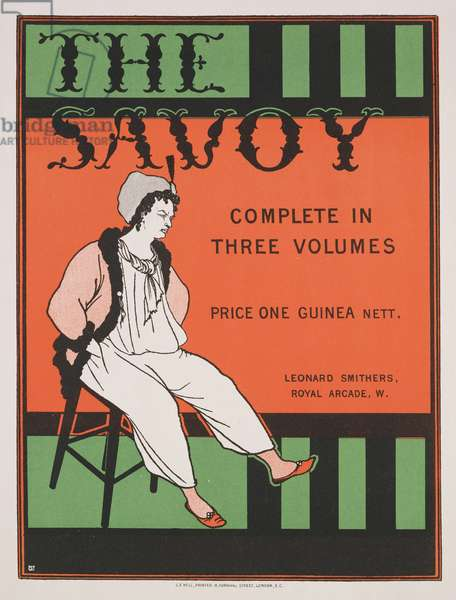 Design for the front cover of 'The Savoy: Complete in Three Volumes', c.1896 (colour litho)