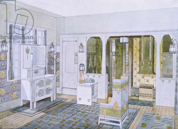 Bedroom designed by Will Bradley in his house in Concord, Massachusetts, from 'Documents d'Art Moderne', 1900-03 (colour litho)