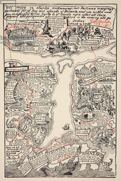 An inciting map of the Turbid Amazon, illustration from 'Just So Stories for Little Children' by Rudyard Kipling, pub. London, 1951 (colour litho)