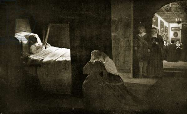 The death of Cromwell, 1658, illustration from 'Hutchinson's Story of the British Nation', c.1923 (litho)