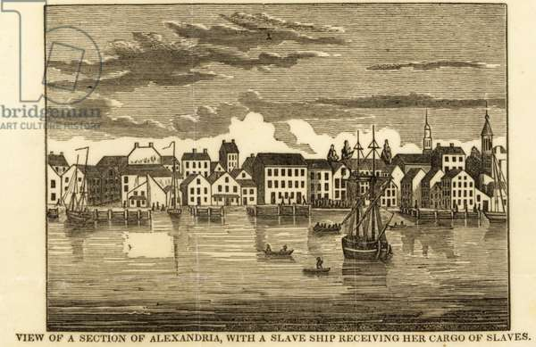 View of Alexandria with a slave ship receiving her cargo of slaves, c.1836 (engraving)