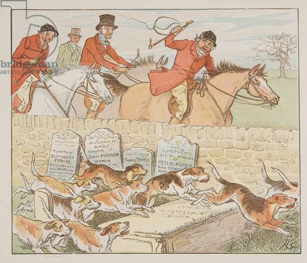 Now the Parson had a pair to Wed as the Hounds came into view …, from The Hey Diddle Diddle Picture Book, pub.1882 (colour engraving)