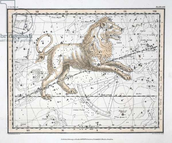 The Constellations (Plate XVII) Leo, from 'A Celestial Atlas' by Alexander Jamieson, pub. London 1822 (hand coloured engraving)
