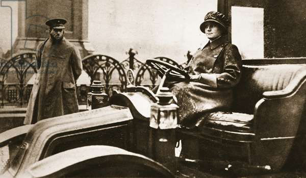 The Duchess of Marlborough's Lady Chauffer: one of the many changes the call for men has brought about, from 'The Illustrated War News', 1916 (sepia photo)